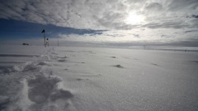 Low-level, liquid-bearing clouds over the Mobile Science Facility at Summit Station in central Greenland.