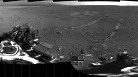 This 360-degree panorama shows evidence of a successful first test drive for NASA's Curiosity rover.
