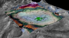 This rendering of an 18-square-mile salt deposit on Mars shows the feature in perspective.