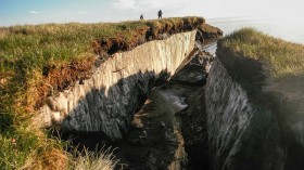Permafrost (frozen layers of Arctic earth) revealed by erosion