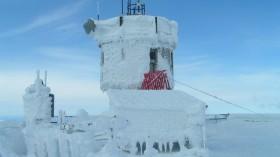 Ice rime on Mt. Washington Observatory, New Hampshire, April 2004