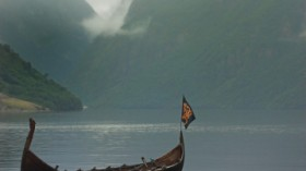 Viking ship on Naeroyfjord, Norway