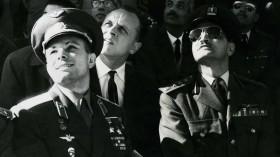 Yuri Gagarin observes the Air Parade, Air Base near Cairo, Egypt, 1962