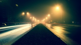 Road in the night.
