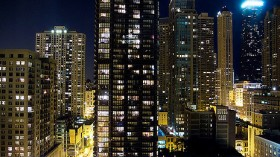 Light pollution epicenter in downtown Chicago