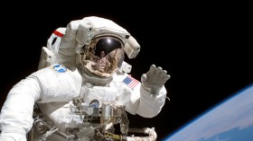 Astronaut Tanner On Space Walk