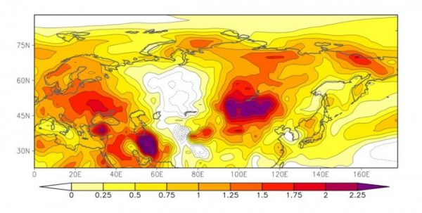Differences in Surface Air Temperatures (In June-August) between the 1980s and 2000s (image)
