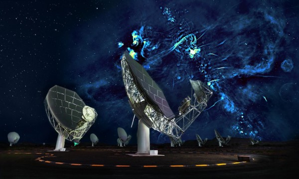 Radio Image of the Center of the Milky Way with a Portion of the Meerkat Telescope Array in the Fore (image)