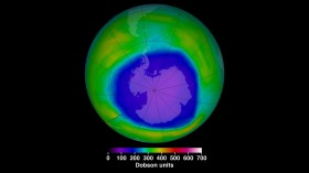 THIS IS A NASA IMAGE SHOWING THE OZONE HOLE AT ITS MAXIMUM EXTENT FOR 2015.