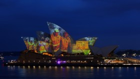 Projections are seen on the sails of the Sydney Opera House in Sydney