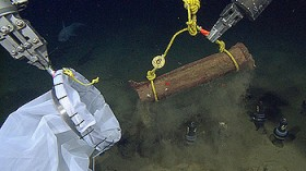Marine biologists drop acacia wood bundles on the sea floor of the Monterey Canyon.