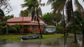 A house flooded due to heavy rain brought by hurricane