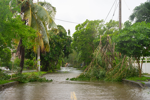 Street flooded due to heavy rain brought by hurricane