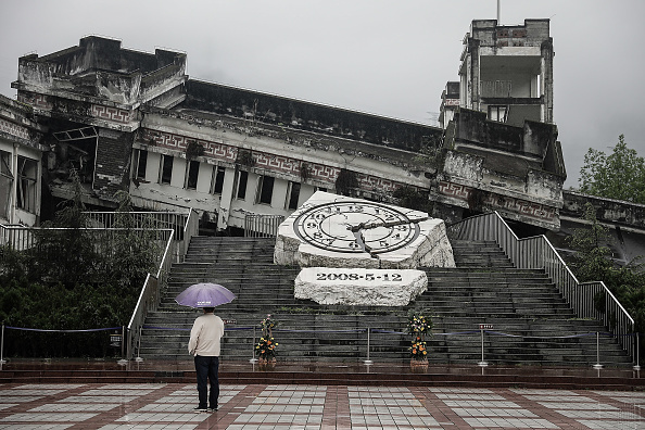 A visitor at the memorial site of the 2008 Sichuan earthquake