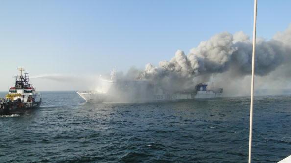A burning ship