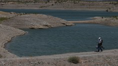 Low water levels are visible at Lake Mead