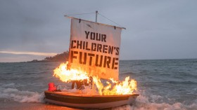Ocean Rebellion's Boris Johnson And Oilhead Oligarch On Marazion Beach