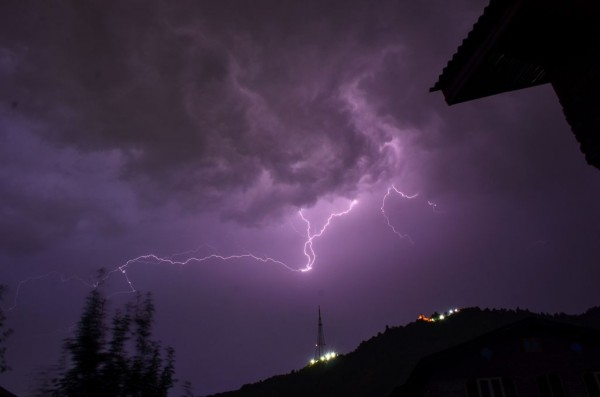 Lightning strikes during a thunderstorm in Srinagar...