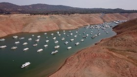 Lower than normal water levels in a lake during drought