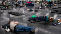 Portland residents relaxing in a cooling center