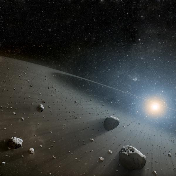 Asteroid belt landscape