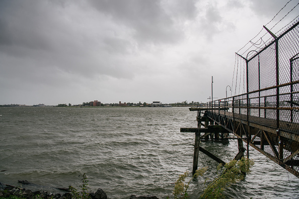 The Mississippi River ahead of Hurricane Ida's arrival in New Orleans