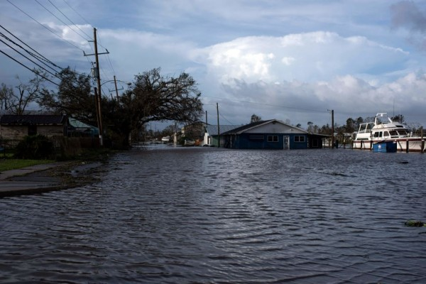 Bayou water floods into Montegut, Louisiana on August 30, 2021 after Hurricane Ida made landfall