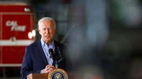 U.S. President Joe Biden delivers remarks to reporters after doing a helicopter tour of the Caldor Fire