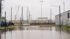 Street flooded with water after Tropical Storm Nicholas moved through Texas