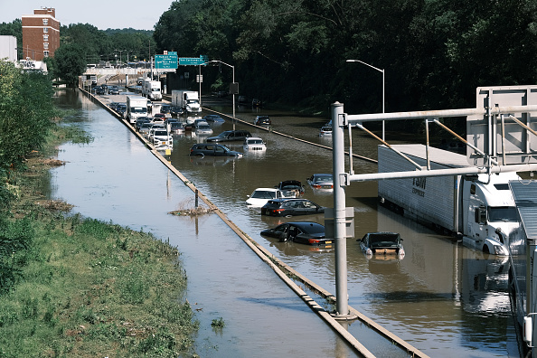 Floodwaters on highway caused by Ida