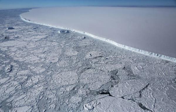 Western edge of the famed iceberg A-68 (TOP R), calved from the Larsen C ice shelf