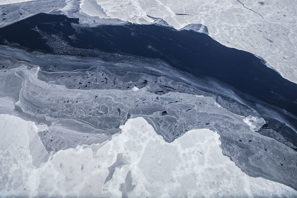 Sea ice is seen from NASA's Operation IceBridge research aircraft in the Antarctic Peninsula region