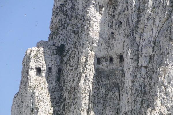 Hillside Caves and Seagulls - Rock of Gibraltar - Gibraltar