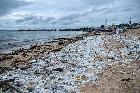 Beach polluted by plastic