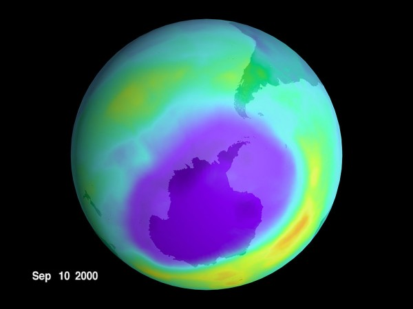 Earth's Ozone with a giant hole