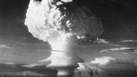 Mushroom shaped cloud begins formation after the first H-Bomb explosion
