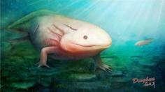 Qiyia jurassica of Jurassic period sucking on salamander