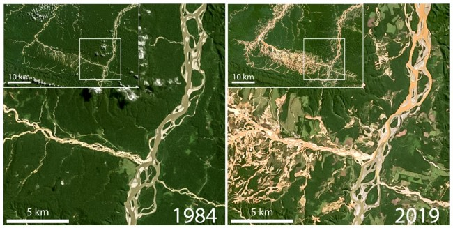 Satellite images used in the study show deforestation and elevated suspended sediment