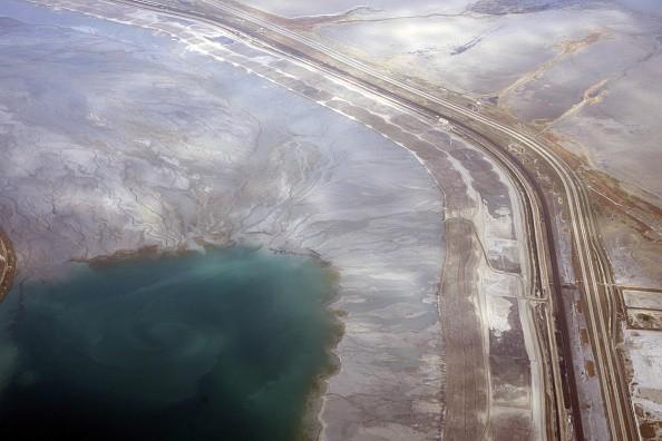 Land meets the Great Salt Lake near Salt Lake City