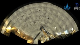 Image of the moon surface taken by the panoramic camera aboard the lander-ascender combination of the Chang'e-5 spacecraft after landing on the moon.